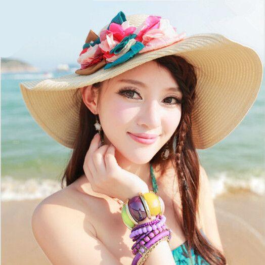 70beb006962 Flower wide brim straw hat for girl Bohemian style