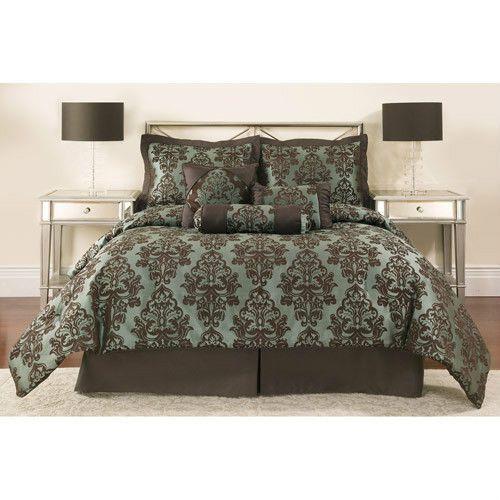 7 Piece Queen Blue Chocolate Brown Luxury Jacquard Damask Comforter Bedding Set Bed Comforters Comforter Sets Jacquard Bedding