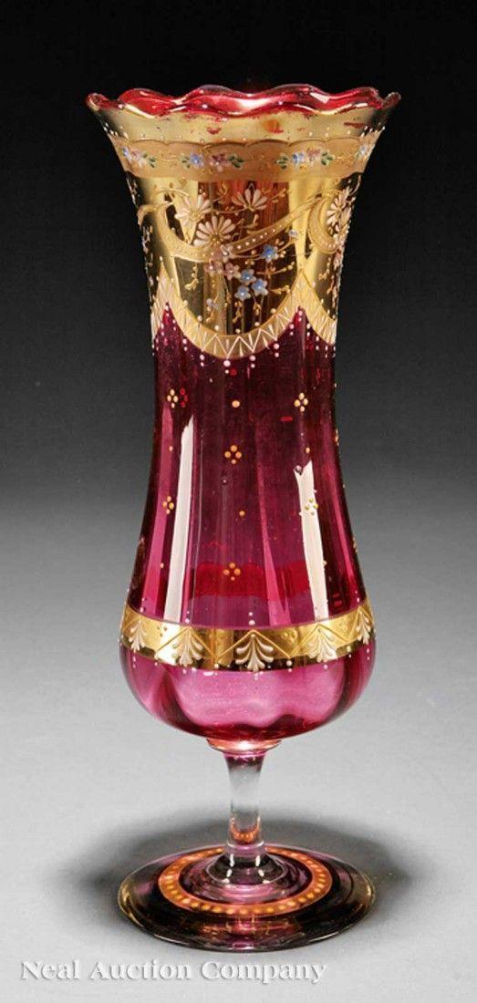 . Un Moser dorado y esmaltado de arándano florero de cristal, finales de los 19 / principios de 20o C, acampanado labio festoneado, cuerpo entallado, aplicado decoración floral, firmado, la base de tallo, altura 12 1/4: