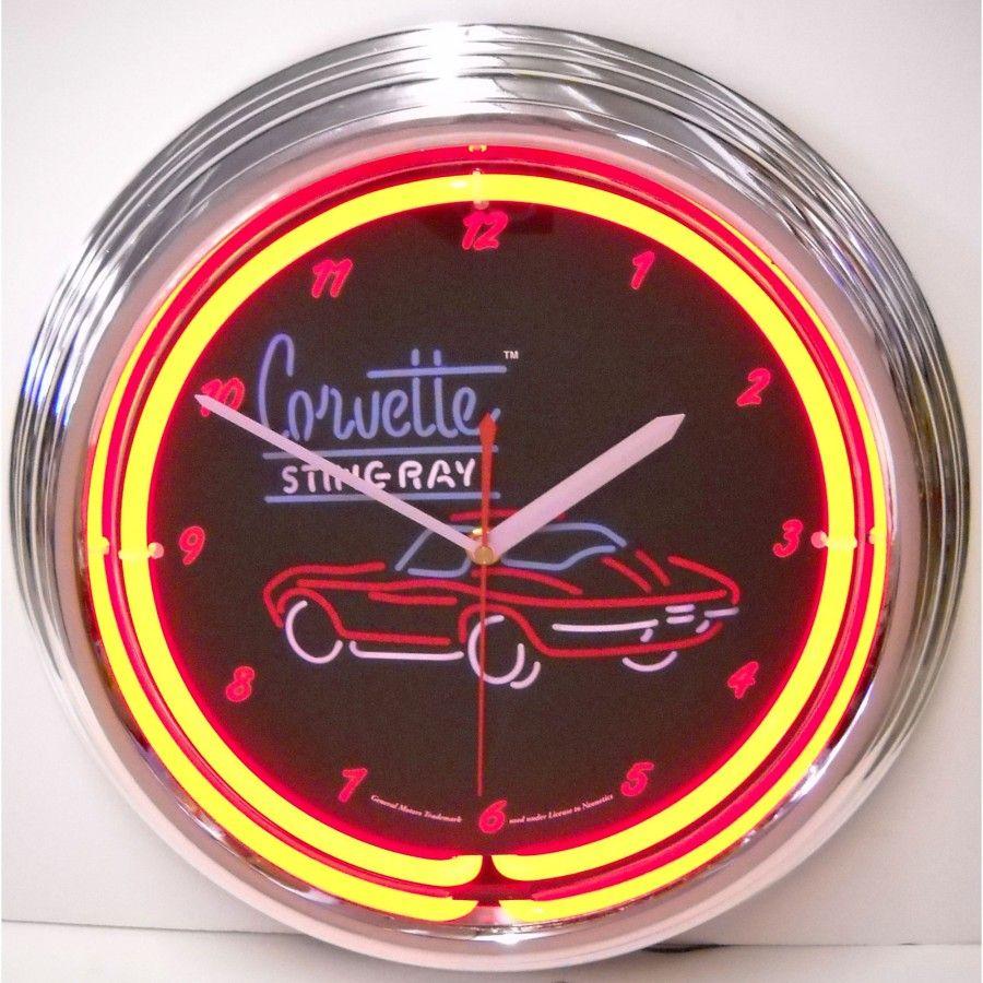 Neonetics Corvette Sr Neon Clock 8corv2 Clock Neon Clock Wall Clock