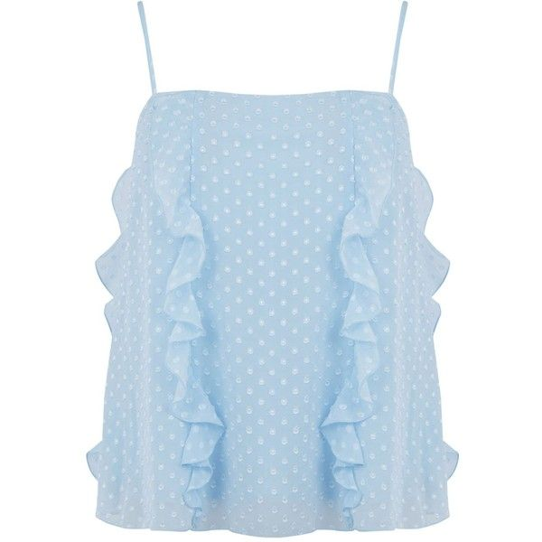 Warehouse Ruffle Spot Cami Top ($45) ❤ liked on Polyvore featuring tops, light blue, women, polka dot tank top, blue cami, blue camisole, ruffle tank and blue top