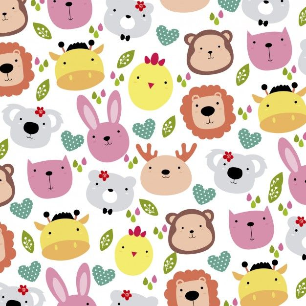 Download Cute Animals Head Background For Free Stuffed Animal Patterns Animal Design Illustration Cute Animals