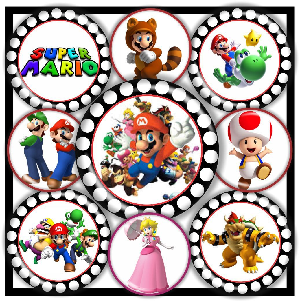 80% OFF SUPER MARIO Game Bottle Cap Images Bottlecap Images Digital 8x10 & 4x6 1 inch Circles 16Mm 12mm Collage Sheet Download Printable by RonisBowTique on Etsy