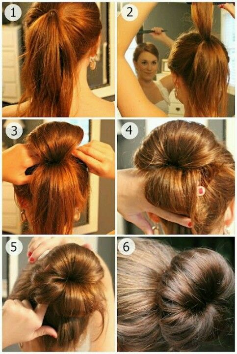 This Looks Like A Good Way To Make A Poufy Bun For Girls Who Aren T Blessed With Nice Thick Hair Although I M Not Hair Styles Beautiful Hair Long Hair Styles