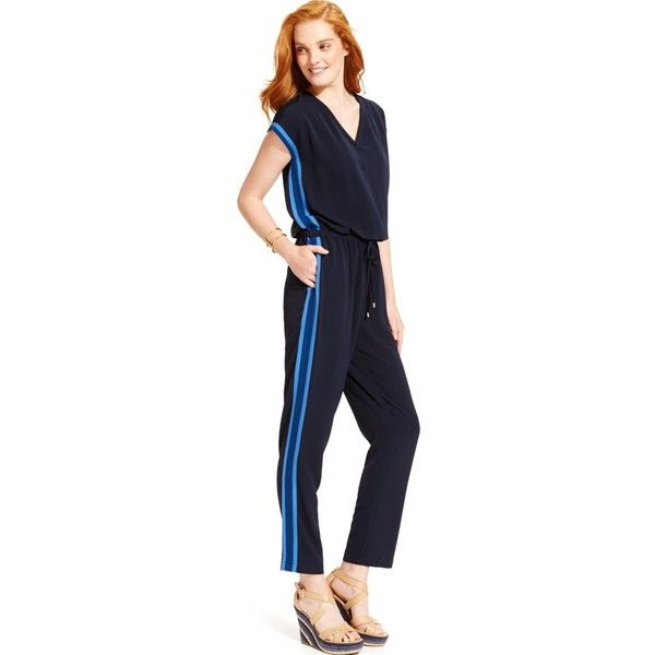 9b0e5b29d Tommy Hilfiger Side-Stripe Drawstring Jumpsuit ($52) ❤ liked on Polyvore  featuring jumpsuits, masters navy, navy jumpsuit, tommy hilfiger, jump  suit, ...