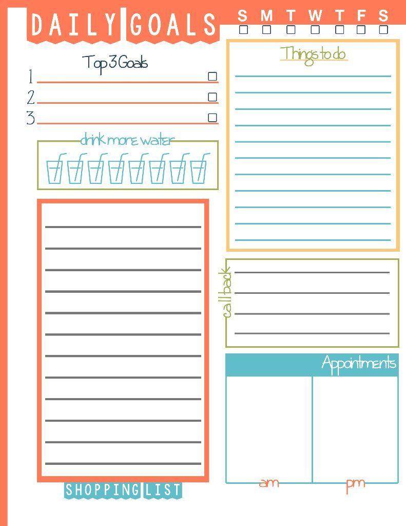 weekly goal sheet