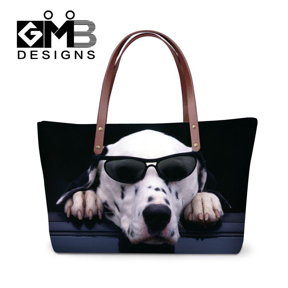 casual neoprene handbag dog prints