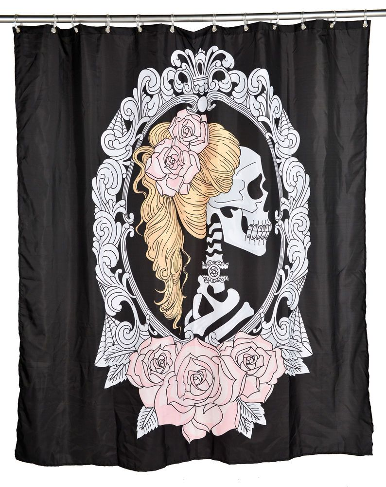 Too Fast Tattoo Cameo Skull Pinup Shower Curtain Rockabilly Kitsch Punk Undead TooFast