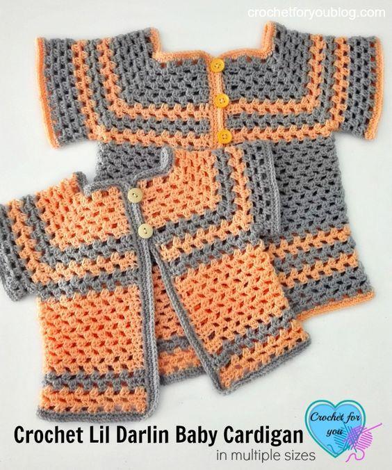 Crochet Lil Darlin Baby Cardigan Free Pattern in Multiple Sizes