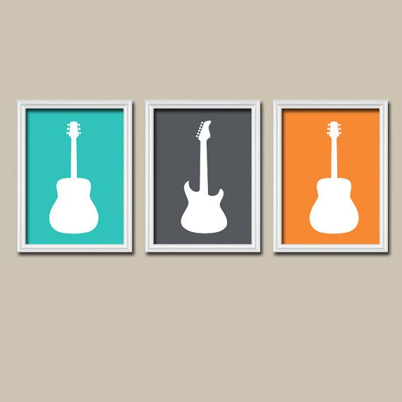 Boy Guitar Wall Art Music Theme Guitar Nursery Decor Boy Guitar Bedroom Pictures Music Rock And Roll Set Of 3 Guitar Art Canvas Or Prints Music Themed Bedroom Guitar Wall Art