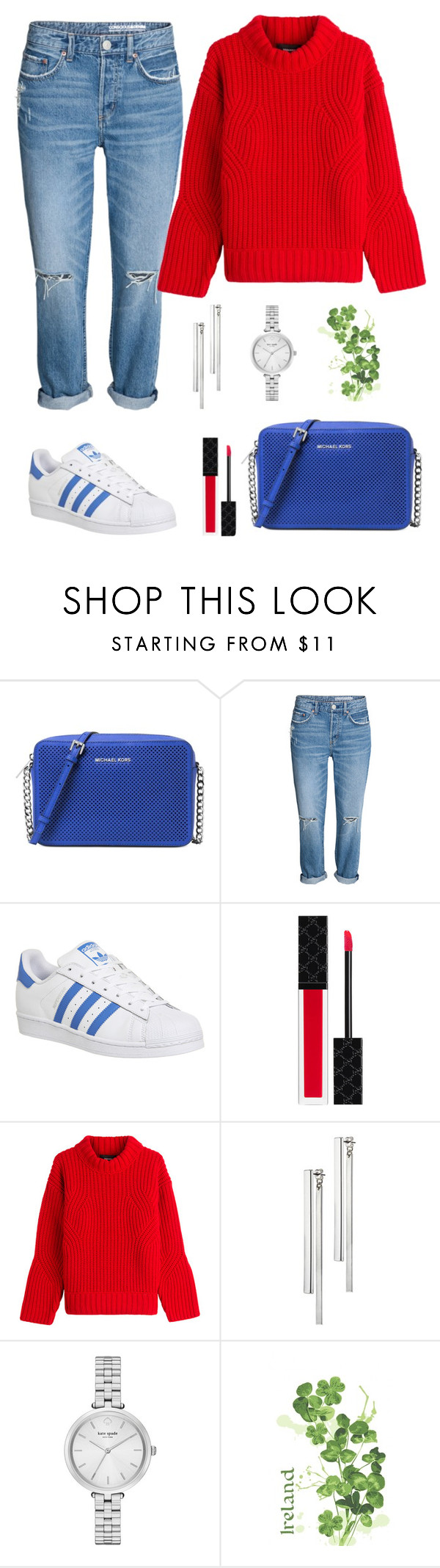 """Popular."" by schenonek ❤ liked on Polyvore featuring Michael Kors, adidas, Gucci, Dsquared2, Kain, Kate Spade and Ulster Weavers"