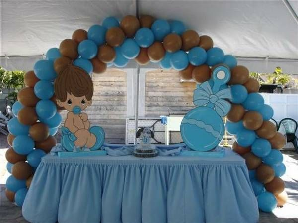 Blue Brown Baby Shower Tableware Baby Shower Table Decoration