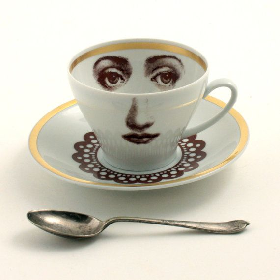 Altered Porcelain Cup Coffee Saucer Woman Face Lace Collar Vintage White Brown Romantic whimsical