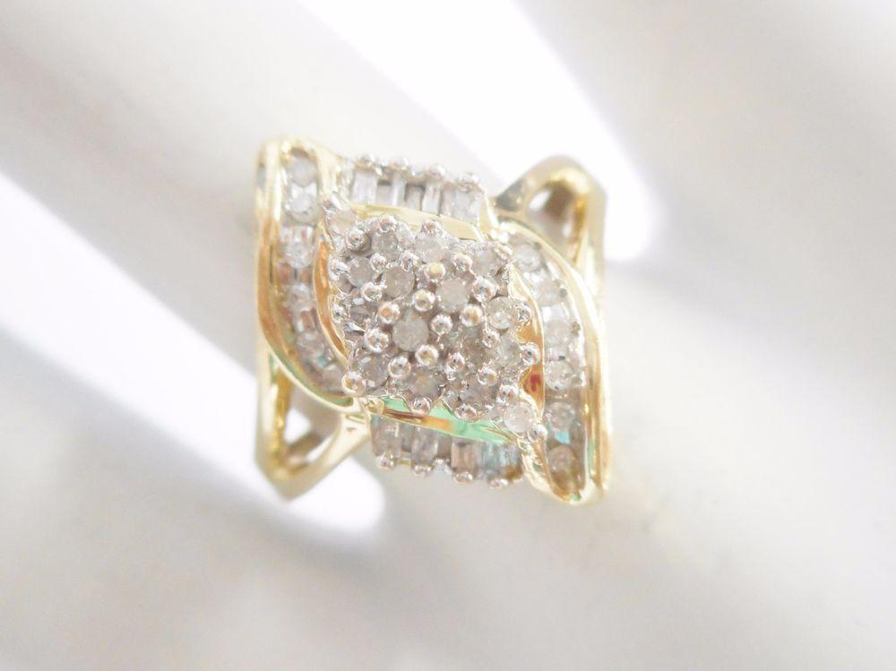 ed95b743f2156 JWBR 10k Yellow Gold .20 Carat TCW Diamond Accent Cluster Mom Ring ...