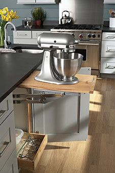 Pull Out Appliance Shelf From Bottom Cabinet Kitchen Island