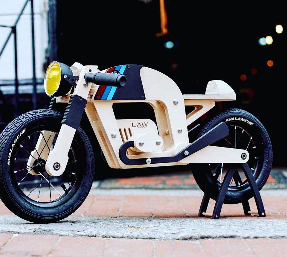 This Kids Wooden Balance Bicycle Looks Like A Cafe Racer Wooden Bicycle Wooden Balance Bike Wooden Bike