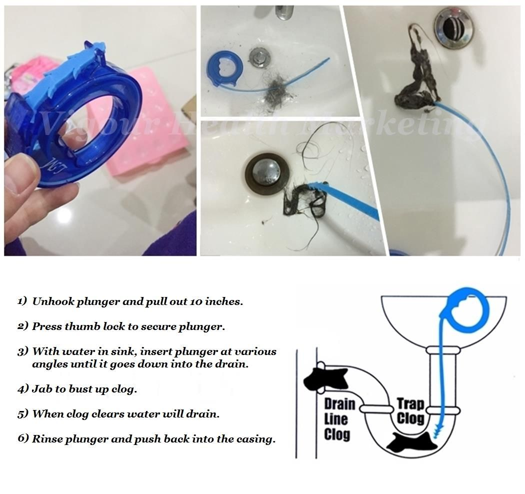 Clogged Kitchen Sink Snake Sink snake, Plunger, Sink