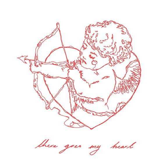Cherub Art Print // Red line drawing renaissance angel artwork