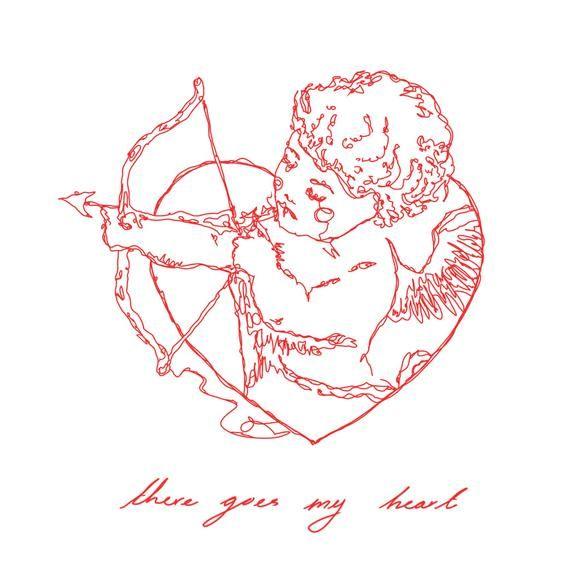 Cherub Art Print // Red line drawing renaissance angel artwork