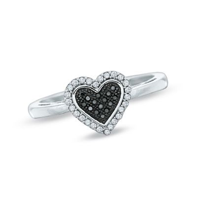 Zales 1/4 CT. T.w. Enhanced Black and White Diamond Heart Ring in Sterling Silver - Size 7 7IQIWD