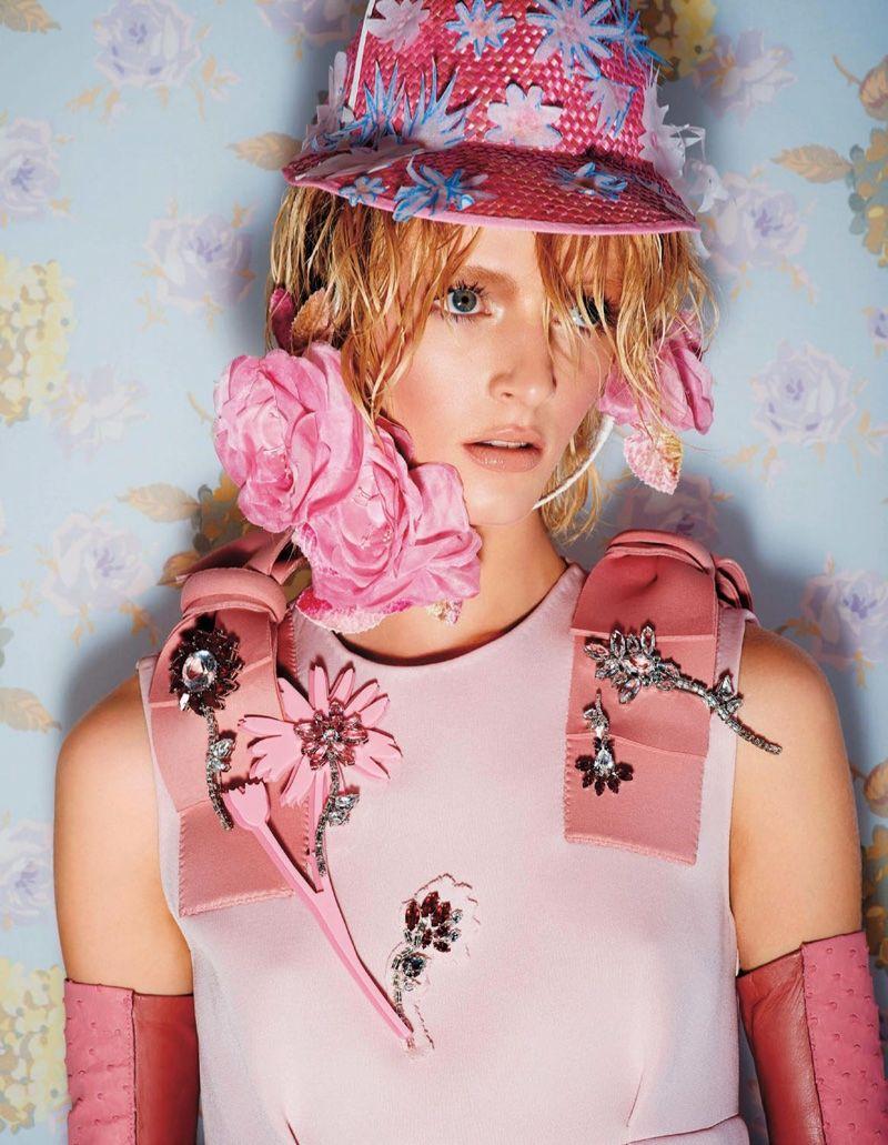 Daria Strokous Models the Ultimate Floral Looks for BAZAAR Japan