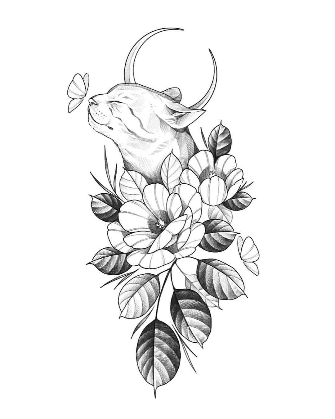 ,  #virgoconstellationtattoodesigns,  #floralconstellationtattoovirgo #virgoconstellationtatt... in 2020 | Cat tattoo designs, Tattoo design drawings, Body art tattoos