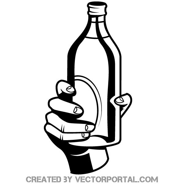 Hand Holding A Bottle Vector Image Bottle Drawing Hand Sketch Vector Images
