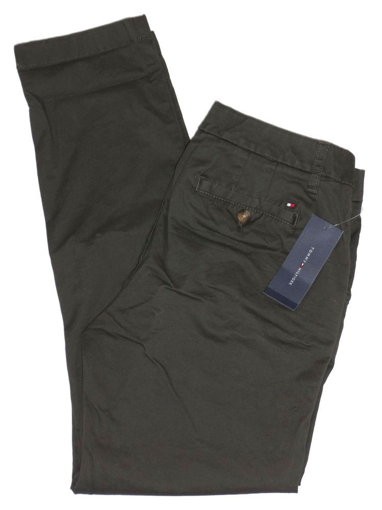 4d4a9e62 NEW Tommy Hilfiger Womens Pants Straight Leg Stretch Ankle Chinos Olive  Green 6 #TommyHilfiger #CasualPants