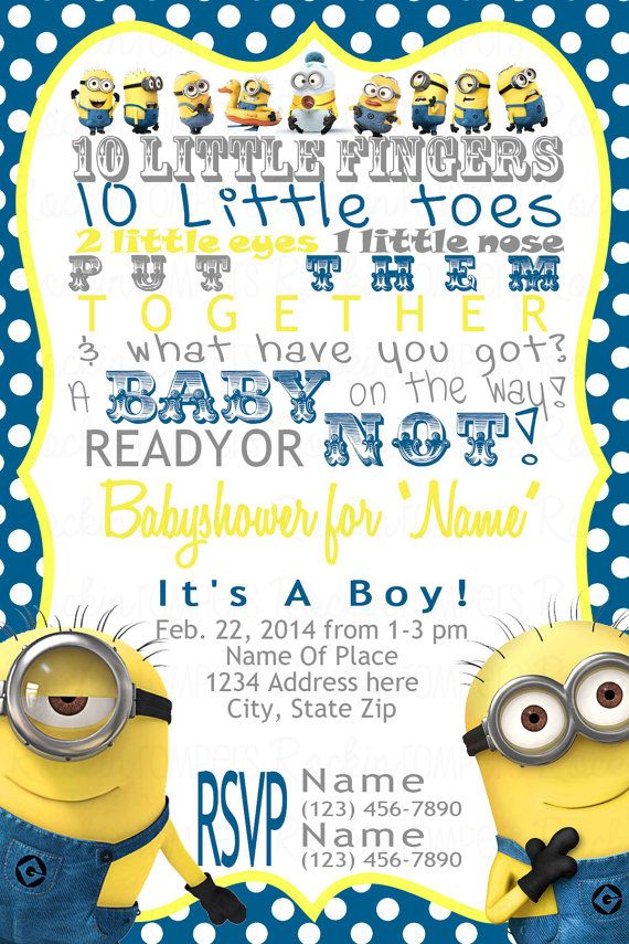 Minion Baby Shower Invitation By Rockinrompers On Etsy 12 00
