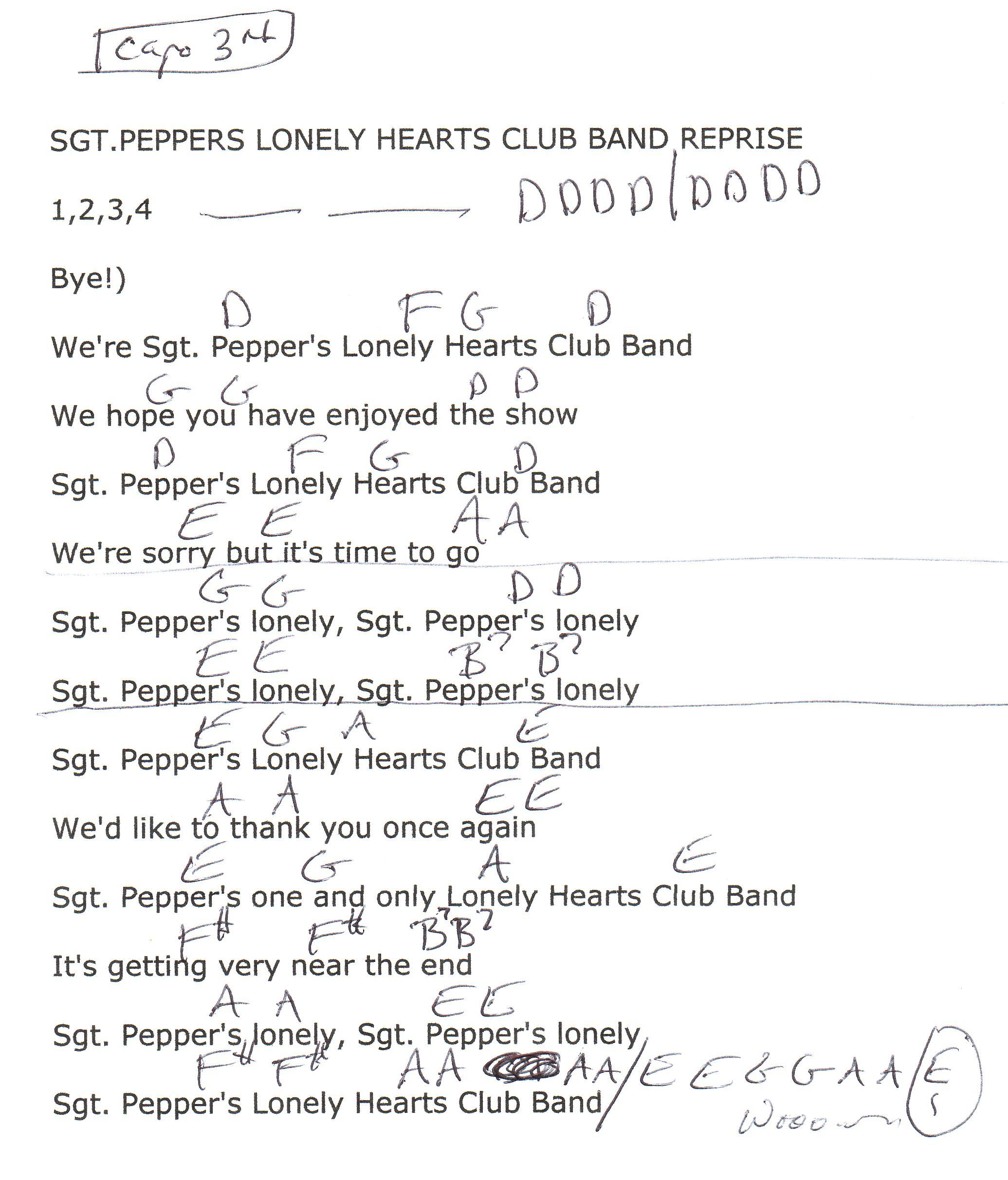 Sgt Peppers Lonely Hearts Club Band Reprise The Beatles Guitar