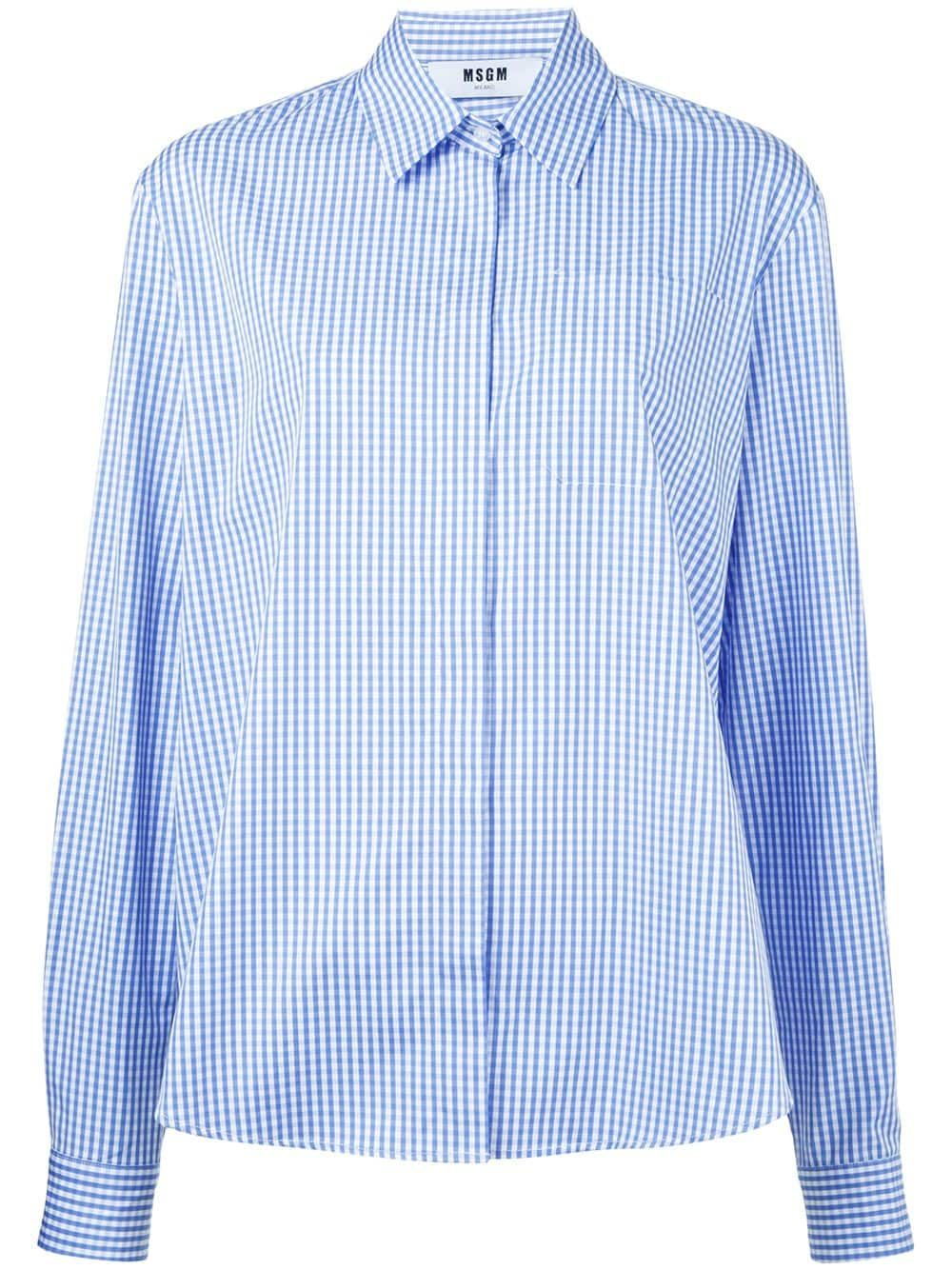 1e22fec8180dcb MSGM gingham check shirt - Blue in 2019 | Products | Blue gingham ...