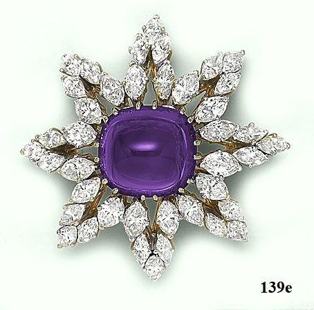 Sugarloaf-cut Siberian amethyst, marquise-cut  diamond, gold and platinum sunburst brooch