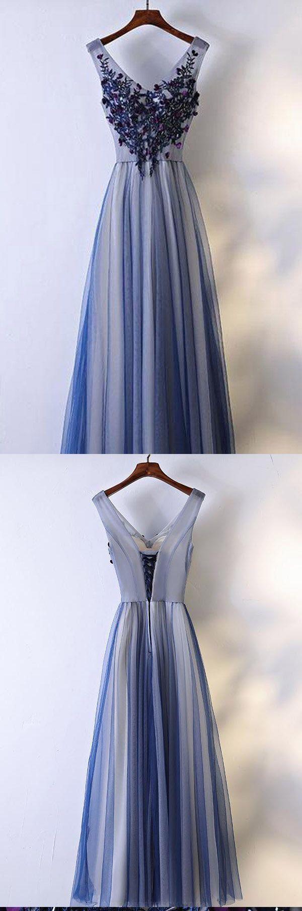 Feminine lace prom dress aline vneck floorlength tulle appliqued