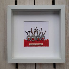 Photo of Reindeer Bild, Reindeer Kiesel Kunst, Reindeer Bild, Reindeer Wandkunst, Reindeer Weihnachtsbild, Reindeer Wand-Dekor, Weihnachtskunst