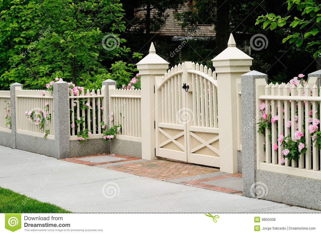 brick column and white fence with gate | Elegant Gate and Fence on ...