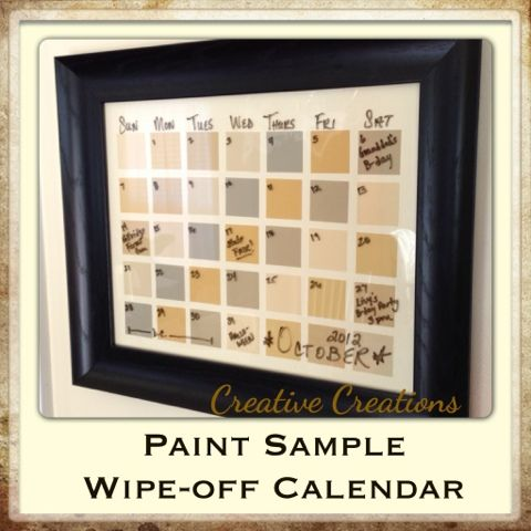 Creative Creations Paint Sample WipeOff Calendar  For The Home