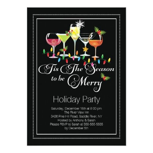 Be Merry Holiday Cocktail Party Invitation Cocktail party - holiday party invitation