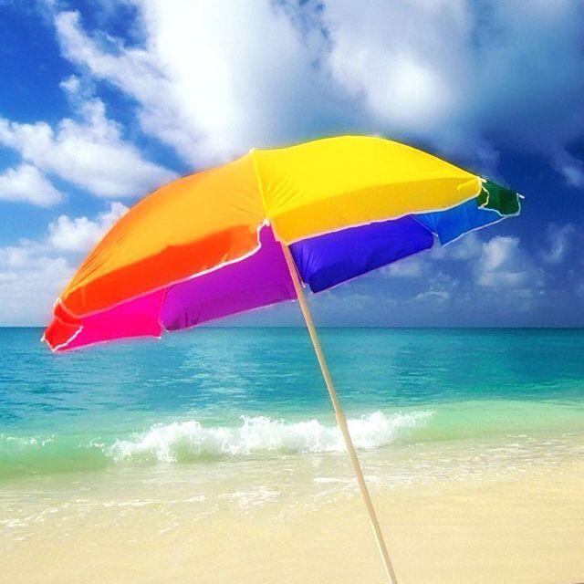 dd99566a6bc6 Rainbow beach umbrella | Knitting | Umbrella painting, Rainbow beach ...