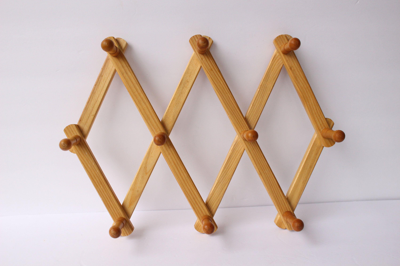 Wood Accordion Peg Rack Blonde Wood Collapsible Coat Rack Etsy Wooden Coat Hangers Wood Candle Sticks Blonde Wood