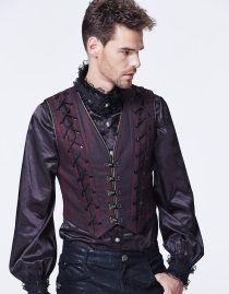 Gilet gothique baroque homme noir et rouge