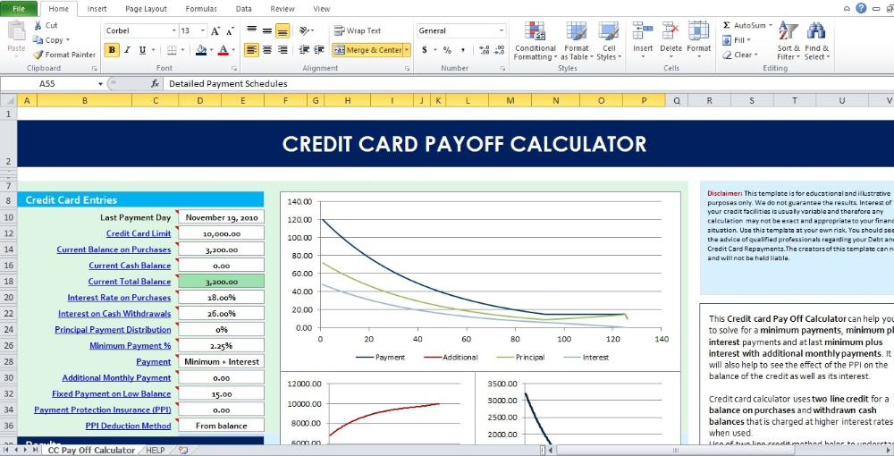 Credit Card Interest Calculator Excel Template Paying Off Credit Cards Credit Card Statement Spreadsheet Template