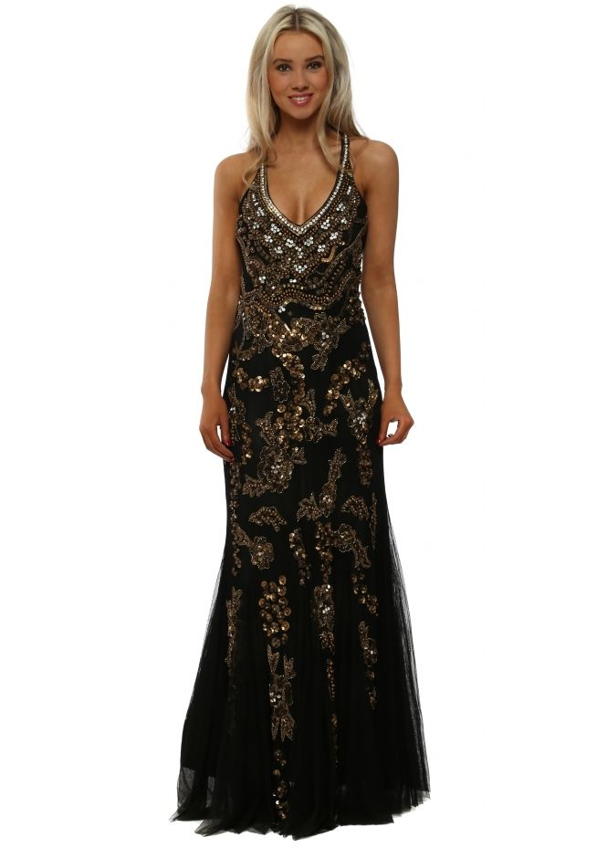 BLACK ELASTICATED STRAPPY EMBROIDERED DRESS WITH SEQUENS ONE SIZE FITS UK 8-16
