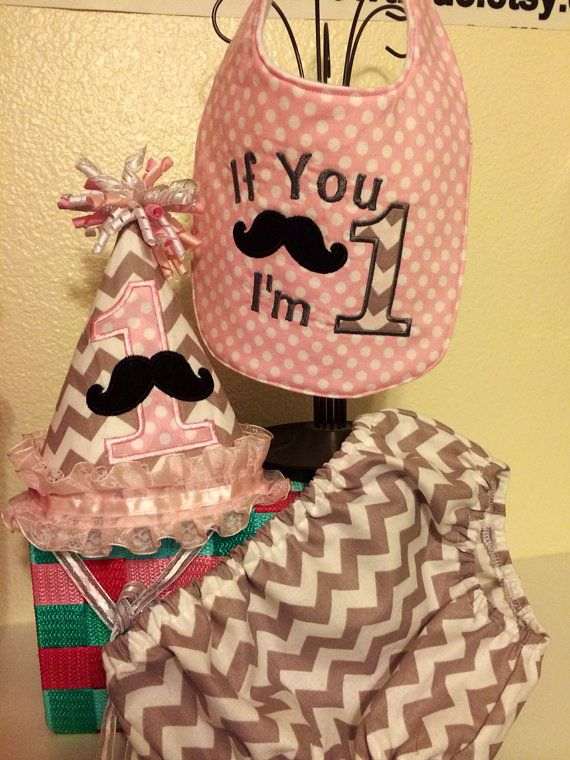 Baby girl 1st birthday mustache smash cake by olivebellbowtique