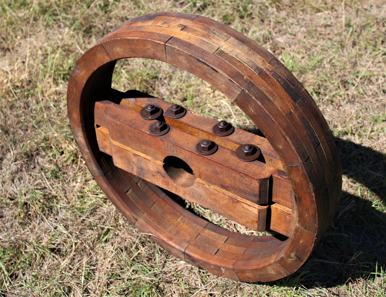 Antique 26 Wood Split Pulley Wheel Flat Belt Pulley Decor Rustic Industrial Decor Wood