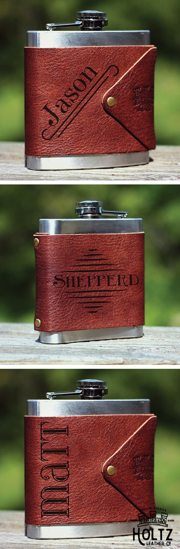 Toast to your groomsmen for sticking by your side with the Hatch Flask Wrap.  This unique design features their names and keeps their flasks cozy.  This gift includes the wrap and a standard 6 fl oz. flask.