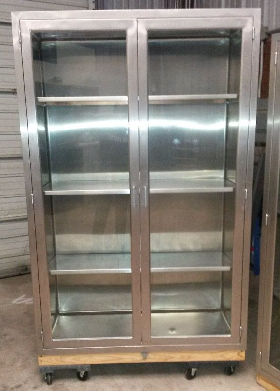 Vintage Medical Stainless Steel Cabinet Used In Hospital Or Glass