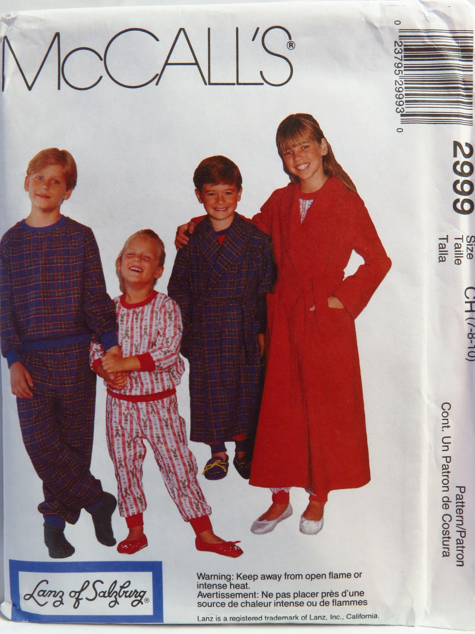 McCall's 2999 Children's, Boys' and Girls' Robe with Tie Belt, Pullover Pajama Top and Pajama Pants