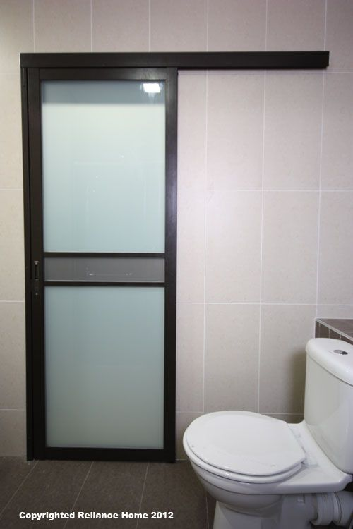 Bathroom Sliding Door A That Slide Instead Of Swinging So It Will Save Room In Small And Add Toilet Pedestal With Wall Tiles
