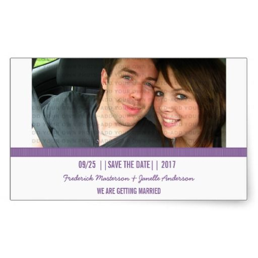 Purple Modern Photo Save the Date Stickers