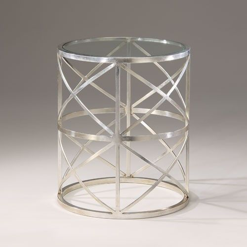 Antique Silver Leaf Round Accent Table